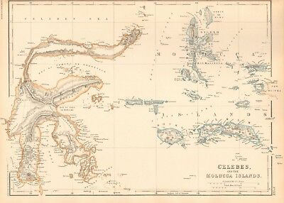 1859 Antique Map - Weller - Celebes And The Molucca Islands
