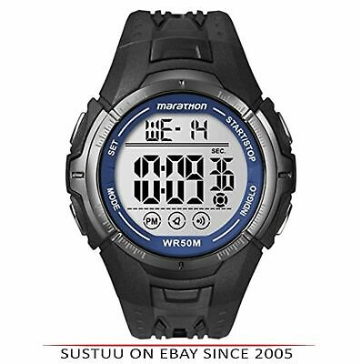 Timex T5K359 Mens Ironman Marathon Digital Sports Black Running Watch Brand New