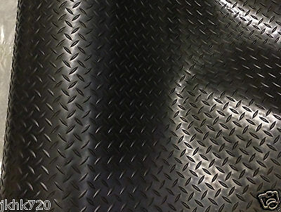Black DIAMOND Checker Van Cab Garage Workshop Rubber Flooring Matting 1.5m x 3mm