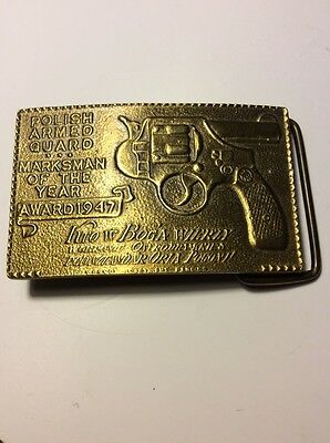 Solid Brass Belt Buckle * Marksman Of The Year Award 1947 Vintage * Poilish