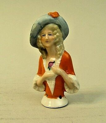 1930's CLASSIC GERMAN ART DECO PORCELAIN PIN / HALF DOLL
