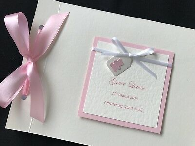 Personalised Handmade Baby Christening Baptism Guest Signing Book Ribbon label