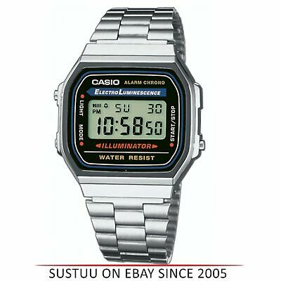 Casio A168WA-1 Retro Classic Unisex Men's Digital Steel Bracelet Watch - Silver