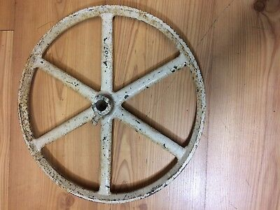 "Vtg Cast Iron Metal Pulley Gear Wheel Industrial Steampunk Lamp Base 14"" Upcycle"