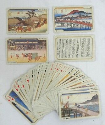"""Vintage """"tokai-Do 53's"""" By """"hiroshige"""" Playing Cards- Japanese 52+4"""