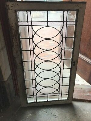 SG 1681 antique leaded glass transom window amethyst and clear 23 x 40.25