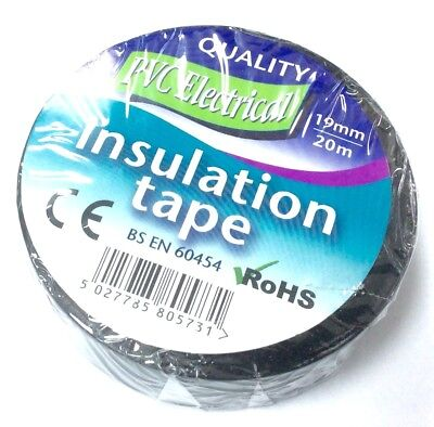 BLACK ELECTRICAL PVC INSULATION / INSULATING  TAPE 19mm x 20m FLAME RETARDANT