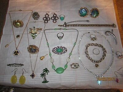Old Estate Job lot of antique vintage Jewelry victorian style, stone, rings, +