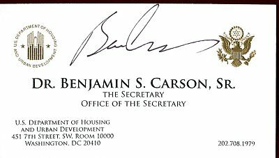 Ben Carson Secretary US Housing HUD Signed Business Card Authentic Autograph