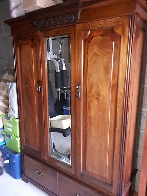 French Armoire wardrobe solid wood mirrored door