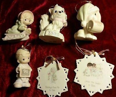 Lot of 6 Precious Moments Various Christmas Ornaments Figures Peace Sled Dog Cat
