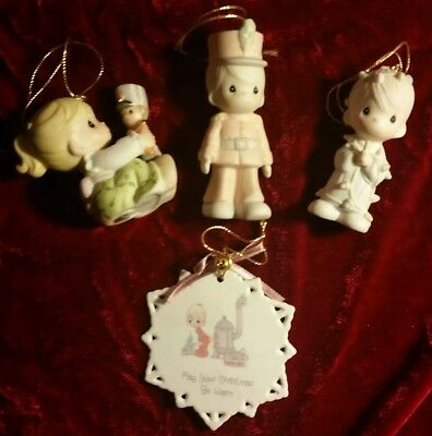 Lot of 4 Precious Moments Various Christmas Ornaments Figures Soldier Girl Boy