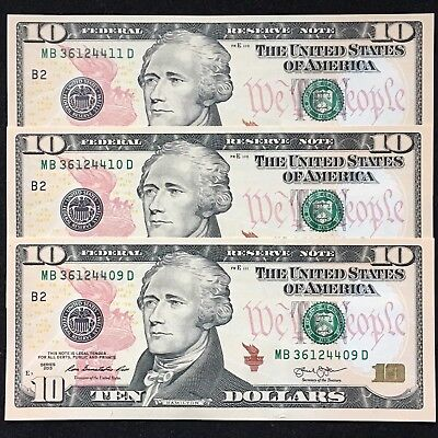 (3) 2013 $10 Federal Reserve Notes - CONSECUTIVE NOTES!