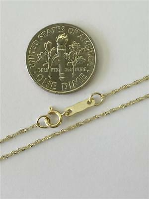 """14K 16"""" Inch .8mm Yellow Gold Singapore Sparkle Rope Twist Chain Necklace"""