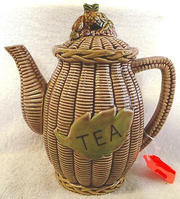 "Vintage Glassware--Wicker Style Tea Pot--8"" Tall--Very Nice--Great Patina!"