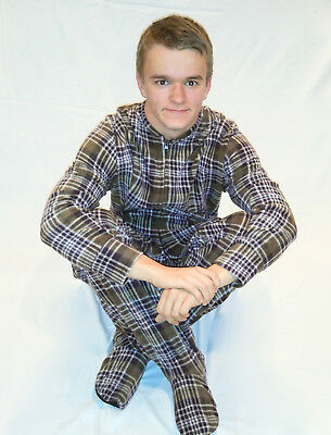 Unisex Adult GÜD NIGHT - S'mores Brown Plaid Footed One Piece Pajamas - Adult