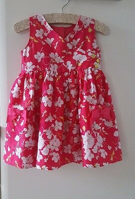 TED BAKER Baby Girls Party Dress Floral Fuchia Pink 12-18 Months / EUR 86 VGC