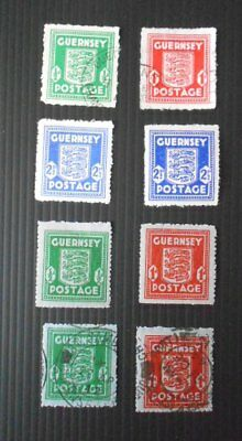 GB Guernsey 8 occupation stamps - inc 4 'Arms' stamps on blue paper