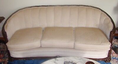 Vintage Antique Victorian Carved Rococo Revival Style Parlor Sofa and Chair