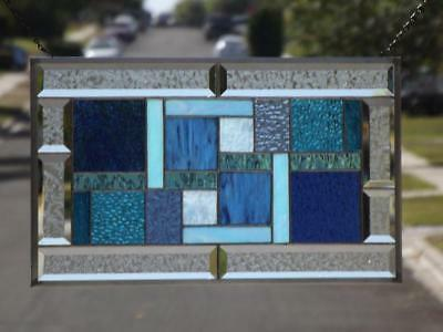 "• Lagoon •Beveled Stained Glass Window Panel  •20 ½""x 12 ½"" (52x32cm)"