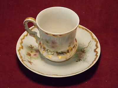 Antique D & C Limoges 1899 Porcelain Cup and Saucer w/ Hand Painted Flowers
