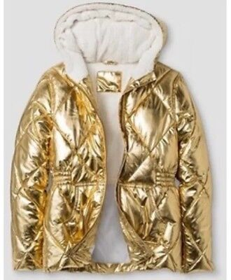 Cat & Jack Girl's Gold Metallic Hooded Puffer Jacket Size XS (4/5) NEW