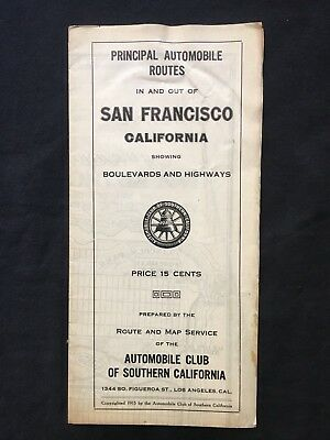 Vintage Automobile Club Of Southern California Map Of San Francisco 1915 -1920