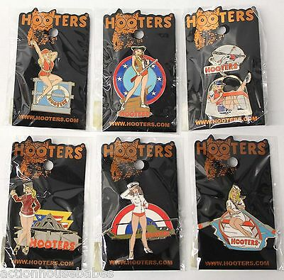 Lot Of 6 Hooters Military Girl Label, Hat, Badge, Pin - Coast Guard,navy,marines