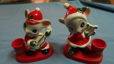 Vintage Japan NAPCO Christmas Mouse Candle Holders Set of 2 Boy & Girl