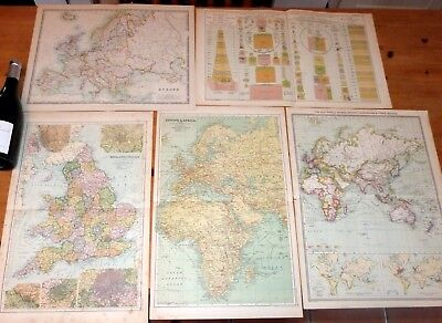 5 x c1924 maps.Europe & Africa,British Possessions & Trade Routes,England &Wa
