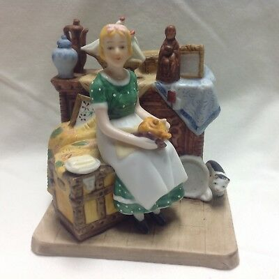 "Norman Rockwell ""Dreams In The Antique Attic"" Figurine with cat figurine"