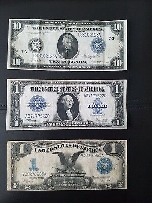 collection of large currency notes 1899,1914,1923