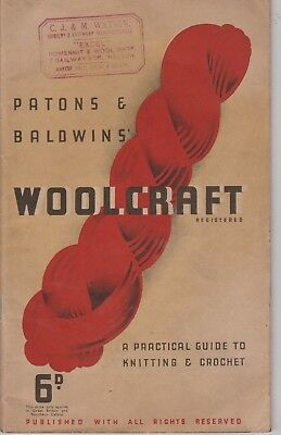 Vintage retro PATONS & BALDWINS WOOLCRAFT A PRACTICAL GUIDE TO KNITTING CROCHET