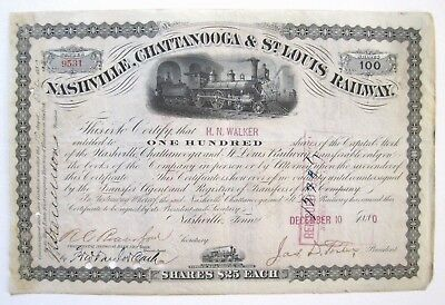 Tennessee RR Stock Signed Governor James Porter 1880