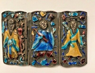Chinese Sterling Enameled - 3 Gods Immortals - Brooch