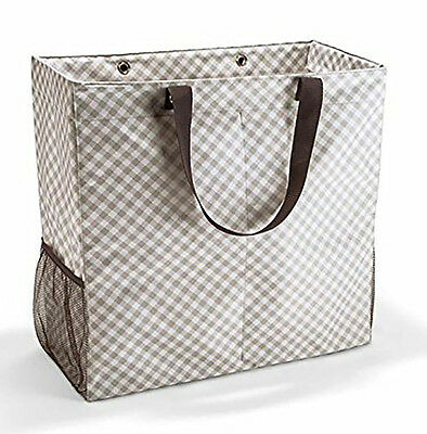 Thirty-One Bag Room For Two Utility Tote - Taupe Gingham