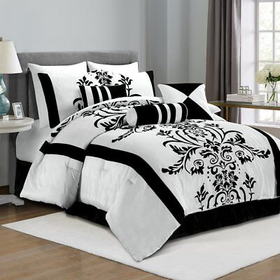 7 Piece Comforter Set Convenient Black & White Attractive Pattern - Queen