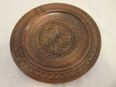 Antique Solid Wood Plate -- Hand-Carved -- From Germany --