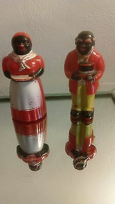 Vint F & F Plastic Aunt Jemima Uncles Moses Black Memorabilia Large Salt Pepper