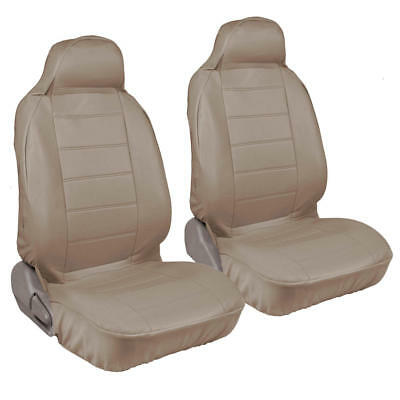 Front High Back Bucket Seat Covers Set - Beige Tan Synthetic Leather 2pcs