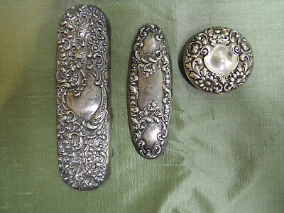 sterling silver repousse lid and brush backs