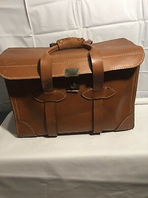 ANTIQUE LEATHER SATCHEL BRIEFCASE Cheney England Brown Rustic Sturdy