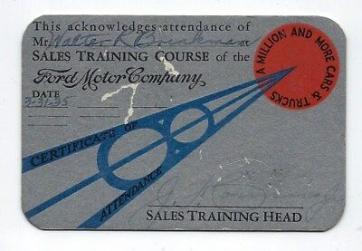 1935 Ford Motor Co.~Art Deco Design~Vintage Sales Training Course Card~2-Sided