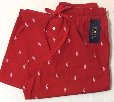 Polo Ralph Lauren Woven Lounge Pants Large 36-38 Red w-Allover Ponies  (8897)