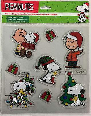 Peanuts Christmas Jelz Window Clings Charlie Brown SNOOPY Linus SET OF 8 NEW!