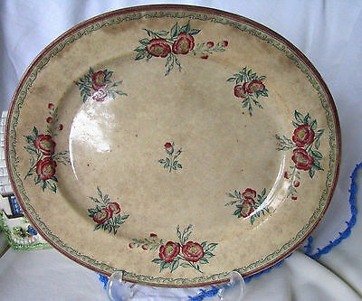 """Antique Circa 1800s Rare Chiswick JR & Co Pink Roses 12 1/2"""" Pottery Platter"""
