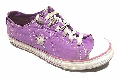 bn. CONVERSE ONE STAR PURPLE WHITE LACE UP WOMAN'S SNEAKERS SHOES 8.5