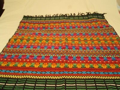 Stunning Vintage  Hand Loomed Multi Coloured Wall Hanging Or Table Cloth
