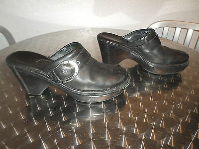Women's Black Leather Clogs with Horsehoe side buckle- Super Sturdy Shoes!