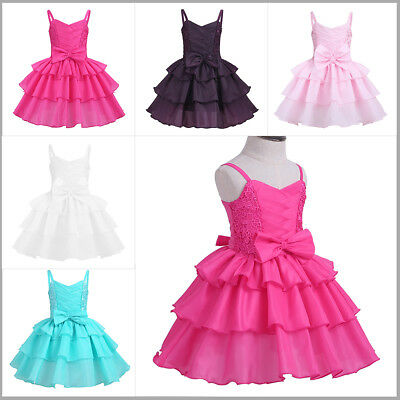 Kids Baby Girl Bowknot Tiered Flower Cake Dress Princess Sundress Birthday Party